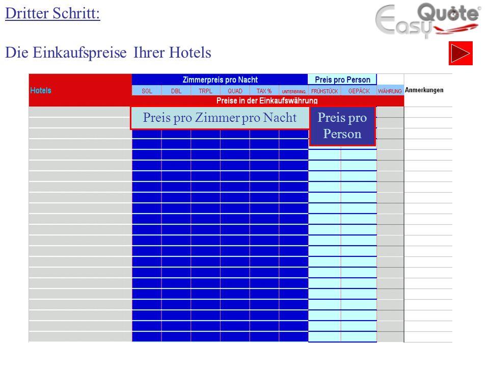 Dritter Schritt: Die Einkaufspreise Ihrer Hotels Preis pro Zimmer pro NachtPreis pro Person