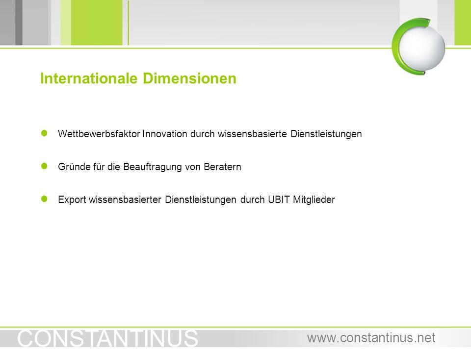 CONSTANTINUS www.constantinus.net l Wettbewerbsfaktor Innovation durch wissensbasierte Dienstleistungen l Gründe für die Beauftragung von Beratern l E
