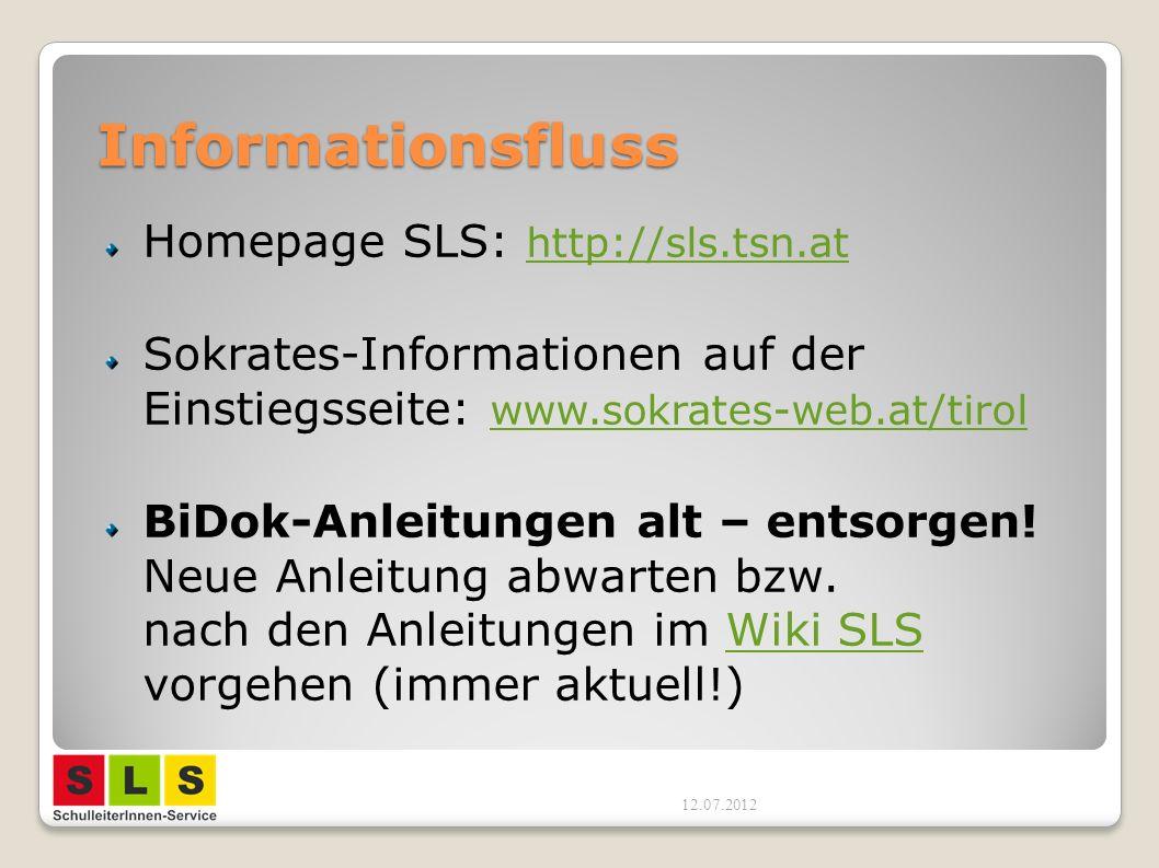 Informationsfluss Homepage SLS: http://sls.tsn.at http://sls.tsn.at Sokrates-Informationen auf der Einstiegsseite: www.sokrates-web.at/tirol www.sokrates-web.at/tirol BiDok-Anleitungen alt – entsorgen.