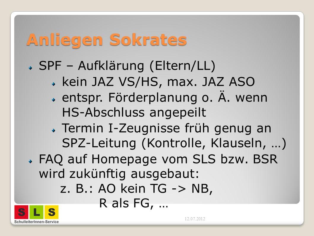 Anliegen Sokrates SPF – Aufklärung (Eltern/LL) kein JAZ VS/HS, max.