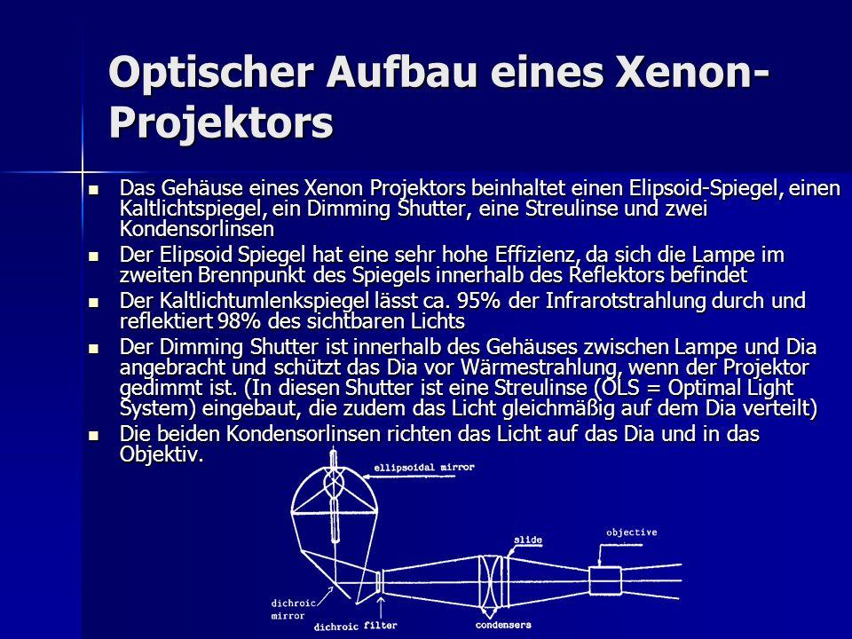 Optischer Aufbau eines Xenon- Projektors Das Gehäuse eines Xenon Projektors beinhaltet einen Elipsoid-Spiegel, einen Kaltlichtspiegel, ein Dimming Shu