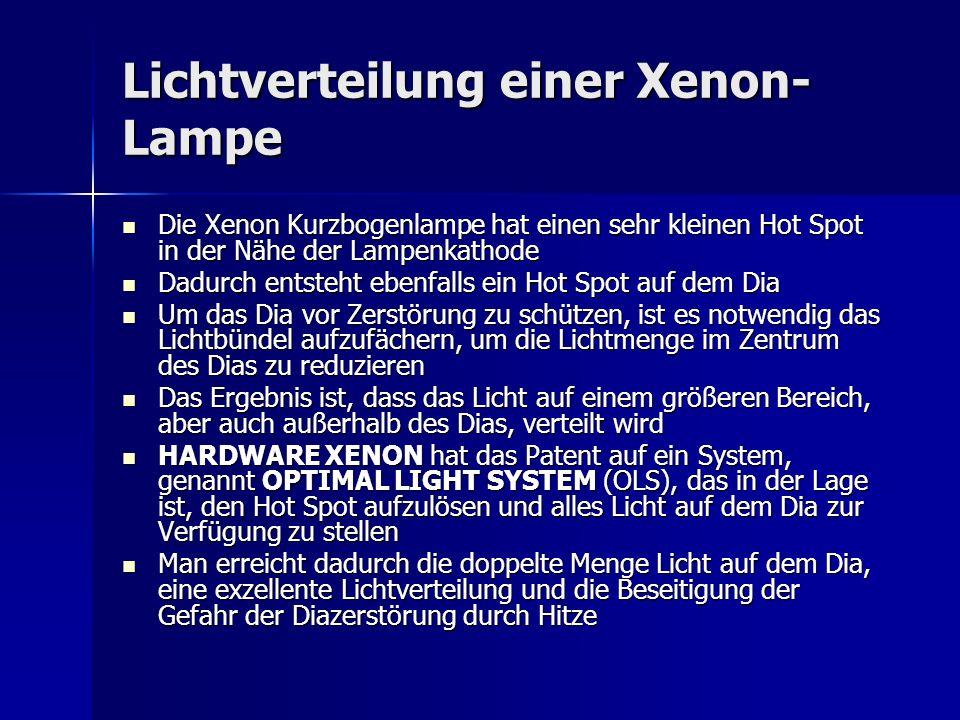 Lichtverteilung einer Xenon- Lampe Die Xenon Kurzbogenlampe hat einen sehr kleinen Hot Spot in der Nähe der Lampenkathode Die Xenon Kurzbogenlampe hat