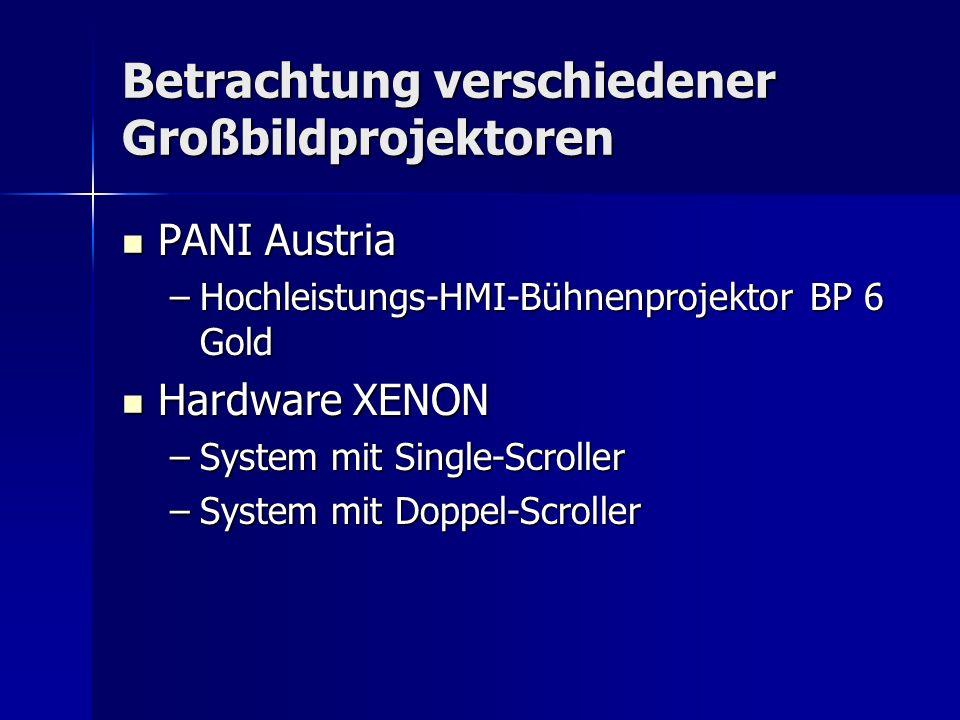 Betrachtung verschiedener Großbildprojektoren PANI Austria PANI Austria –Hochleistungs-HMI-Bühnenprojektor BP 6 Gold Hardware XENON Hardware XENON –Sy