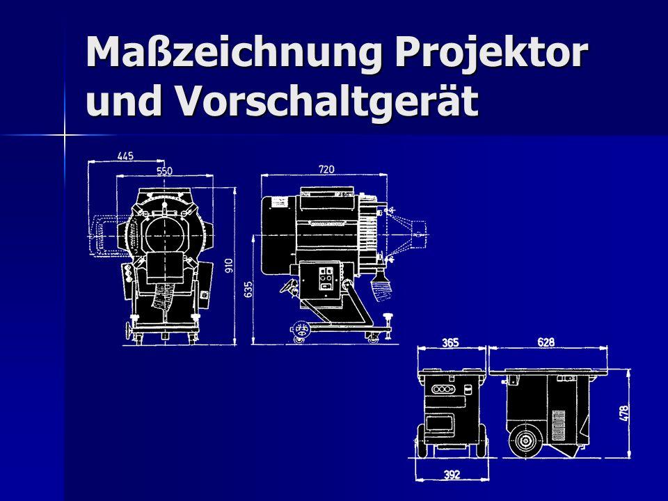Maßzeichnung Projektor und Vorschaltgerät