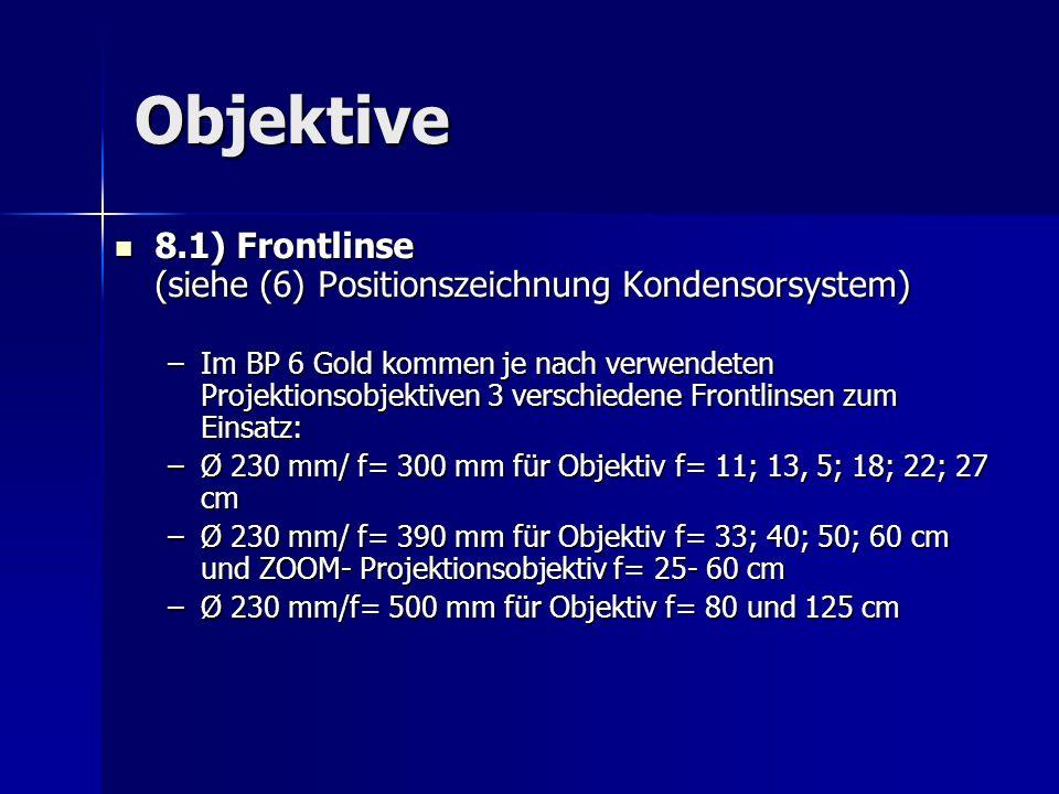 Objektive 8.1) Frontlinse (siehe (6) Positionszeichnung Kondensorsystem) 8.1) Frontlinse (siehe (6) Positionszeichnung Kondensorsystem) –Im BP 6 Gold