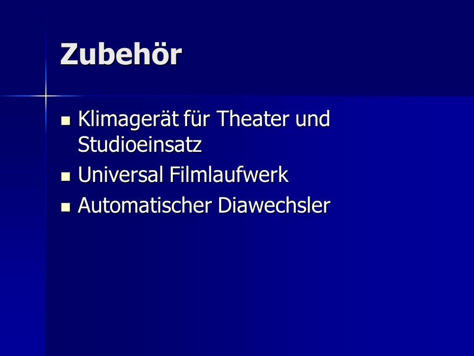 Zubehör Klimagerät für Theater und Studioeinsatz Klimagerät für Theater und Studioeinsatz Universal Filmlaufwerk Universal Filmlaufwerk Automatischer
