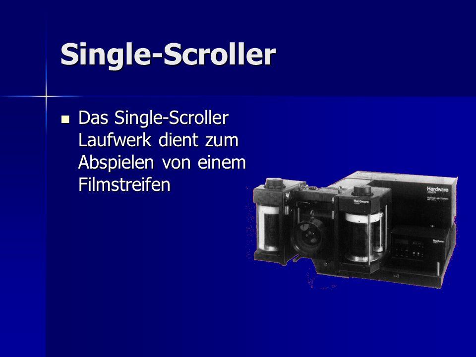 Single-Scroller Das Single-Scroller Laufwerk dient zum Abspielen von einem Filmstreifen Das Single-Scroller Laufwerk dient zum Abspielen von einem Fil