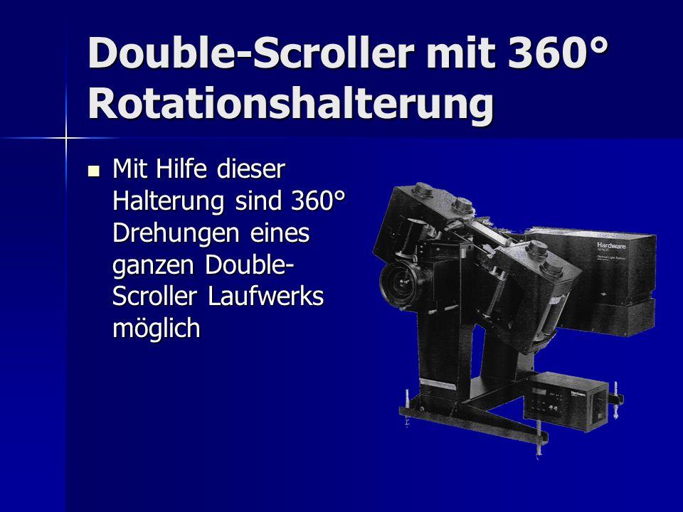 Double-Scroller mit 360° Rotationshalterung Mit Hilfe dieser Halterung sind 360° Drehungen eines ganzen Double- Scroller Laufwerks möglich Mit Hilfe d