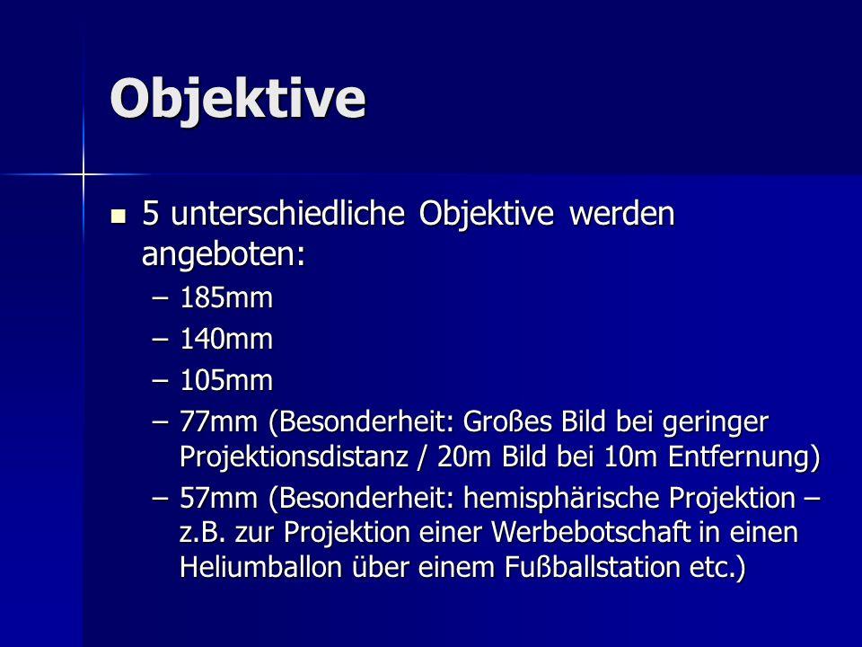 Objektive 5 unterschiedliche Objektive werden angeboten: 5 unterschiedliche Objektive werden angeboten: –185mm –140mm –105mm –77mm (Besonderheit: Groß