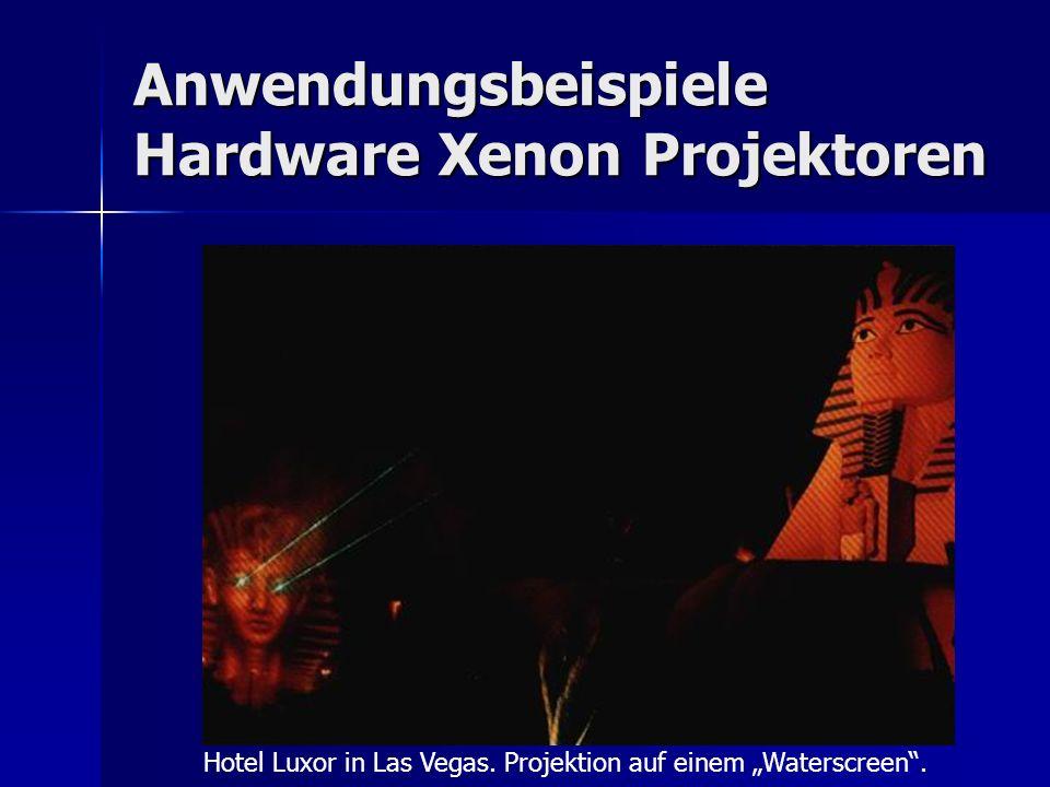 Anwendungsbeispiele Hardware Xenon Projektoren Hotel Luxor in Las Vegas. Projektion auf einem Waterscreen.