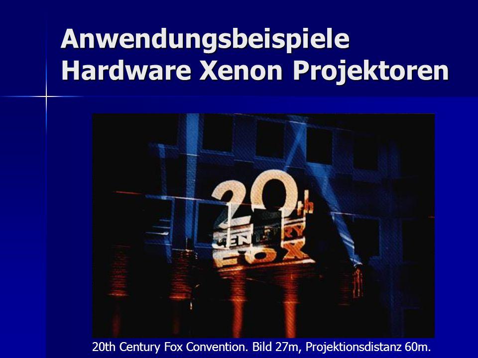 Anwendungsbeispiele Hardware Xenon Projektoren 20th Century Fox Convention. Bild 27m, Projektionsdistanz 60m.