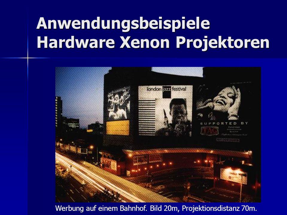 Anwendungsbeispiele Hardware Xenon Projektoren Werbung auf einem Bahnhof. Bild 20m, Projektionsdistanz 70m.