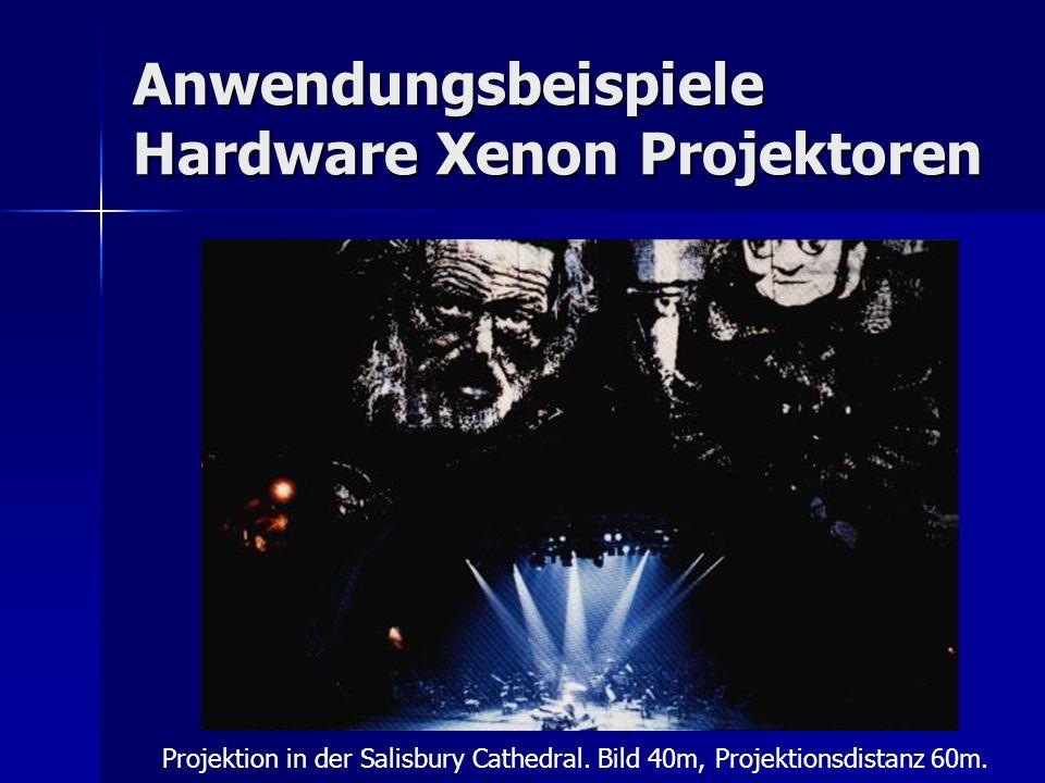 Anwendungsbeispiele Hardware Xenon Projektoren Projektion in der Salisbury Cathedral. Bild 40m, Projektionsdistanz 60m.