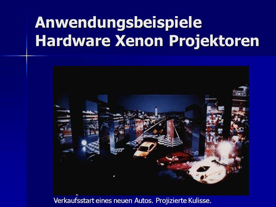 Anwendungsbeispiele Hardware Xenon Projektoren Verkaufsstart eines neuen Autos. Projizierte Kulisse.
