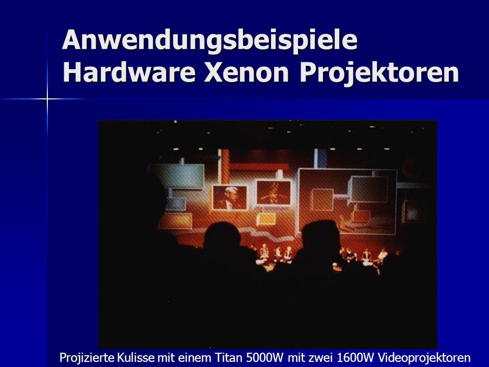 Anwendungsbeispiele Hardware Xenon Projektoren Projizierte Kulisse mit einem Titan 5000W mit zwei 1600W Videoprojektoren