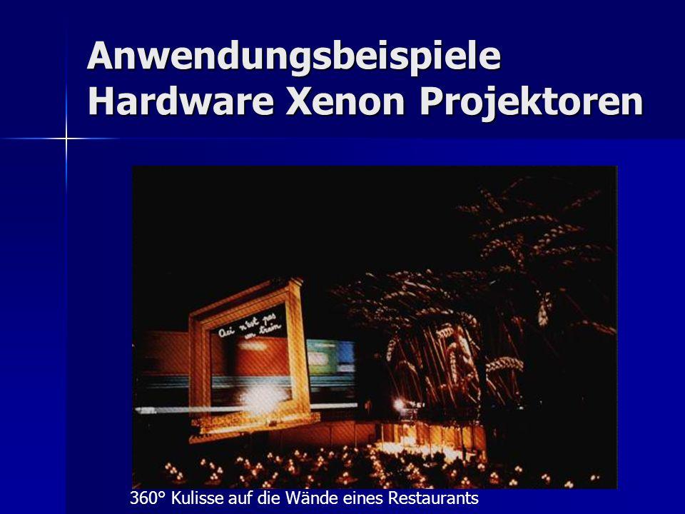 Anwendungsbeispiele Hardware Xenon Projektoren 360° Kulisse auf die Wände eines Restaurants