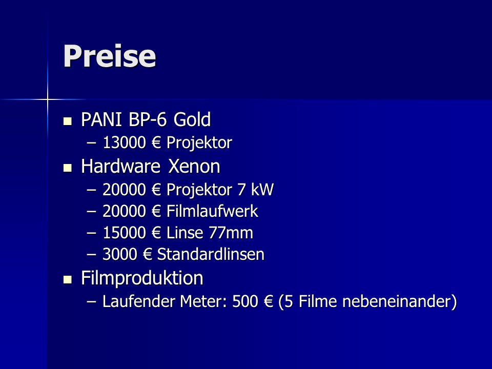 Preise PANI BP-6 Gold PANI BP-6 Gold –13000 Projektor Hardware Xenon Hardware Xenon –20000 Projektor 7 kW –20000 Filmlaufwerk –15000 Linse 77mm –3000