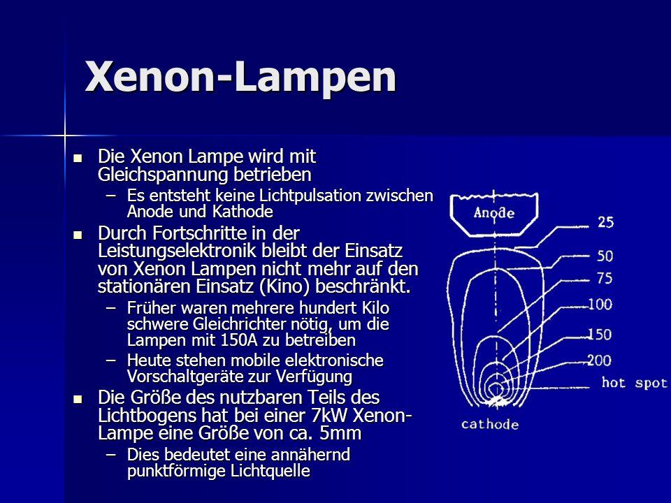 Xenon-Lampen Die Xenon Lampe wird mit Gleichspannung betrieben Die Xenon Lampe wird mit Gleichspannung betrieben –Es entsteht keine Lichtpulsation zwi