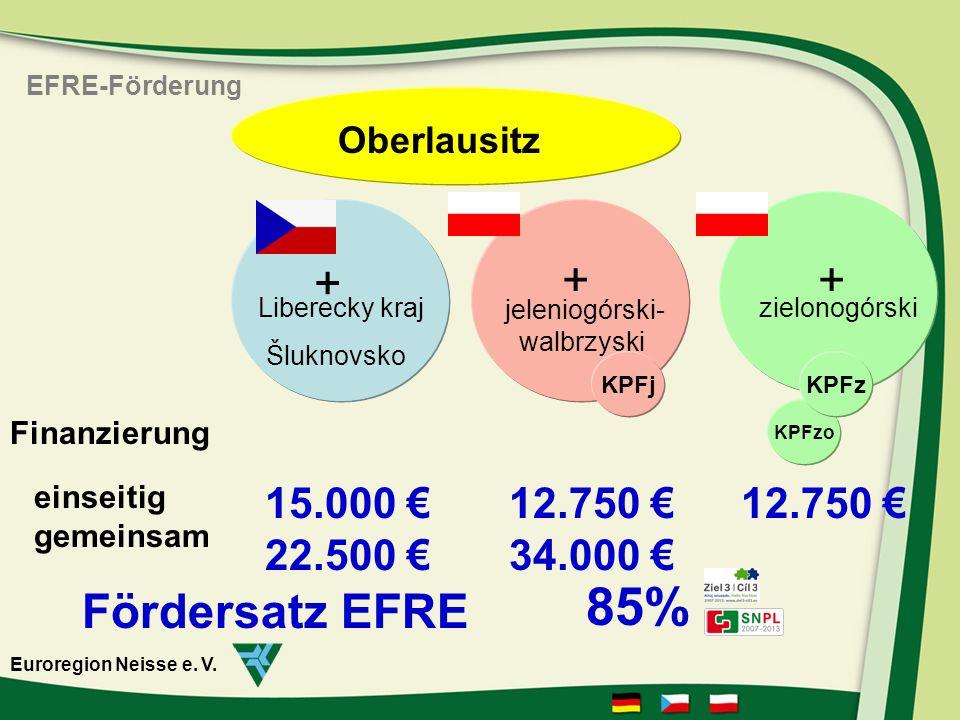 15.000 22.500 12.750 34.000 12.750 einseitig gemeinsam Finanzierung Šluknovsko jeleniogórski- walbrzyski Liberecky krajzielonogórski + ++ KPFj KPFzo KPFz Oberlausitz Fördersatz EFRE 85% EFRE-Förderung Euroregion Neisse e.