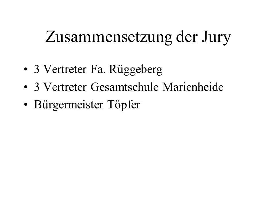 Zusammensetzung der Jury 3 Vertreter Fa. Rüggeberg 3 Vertreter Gesamtschule Marienheide Bürgermeister Töpfer