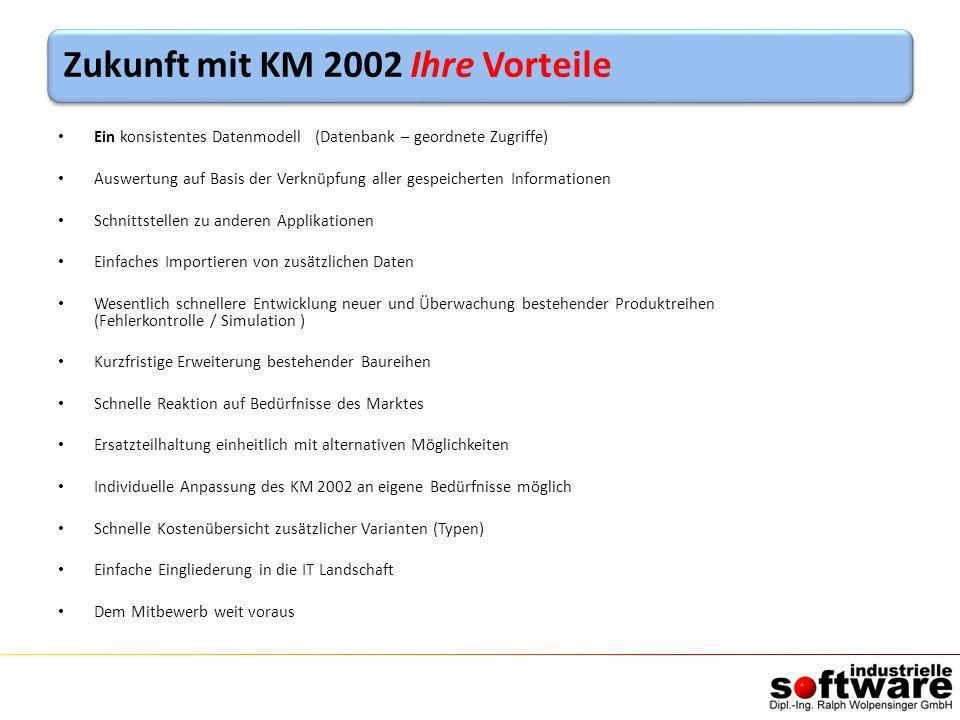 Zukunft mit KM 2002 Ihre Vorteile Ein konsistentes Datenmodell (Datenbank – geordnete Zugriffe) Auswertung auf Basis der Verknüpfung aller gespeichert