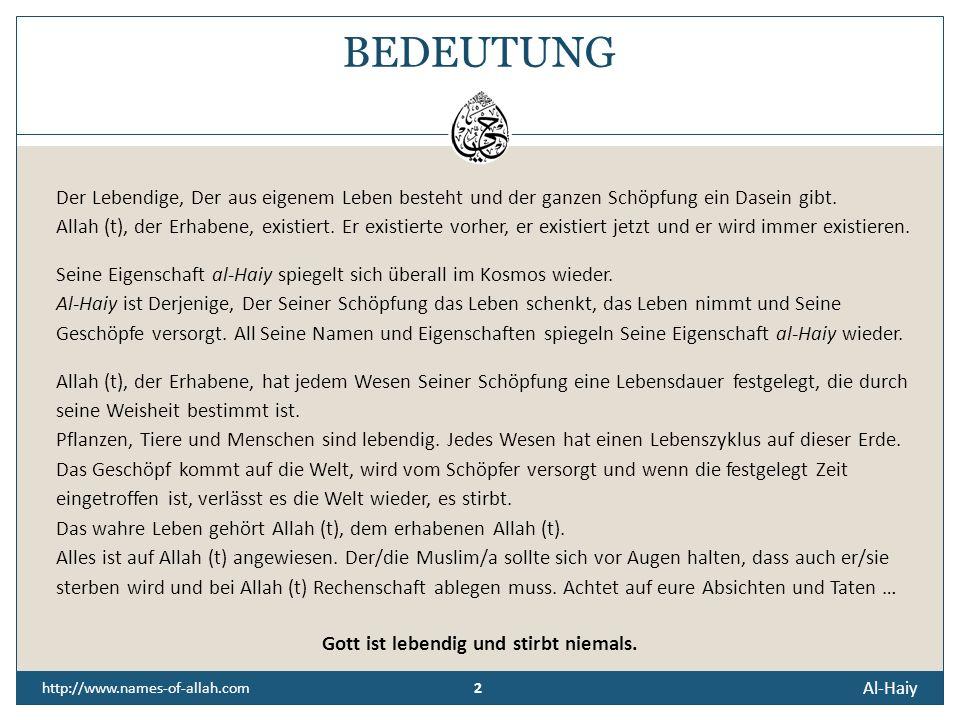Al-Haiy http://www.names-of-allah.com DER LEBENDIGE, DER EWIGLEBENDE, DER UNSTERBLICHE Der aus Sich Selbst Lebende. Derjenige, Der das Leben gibt und