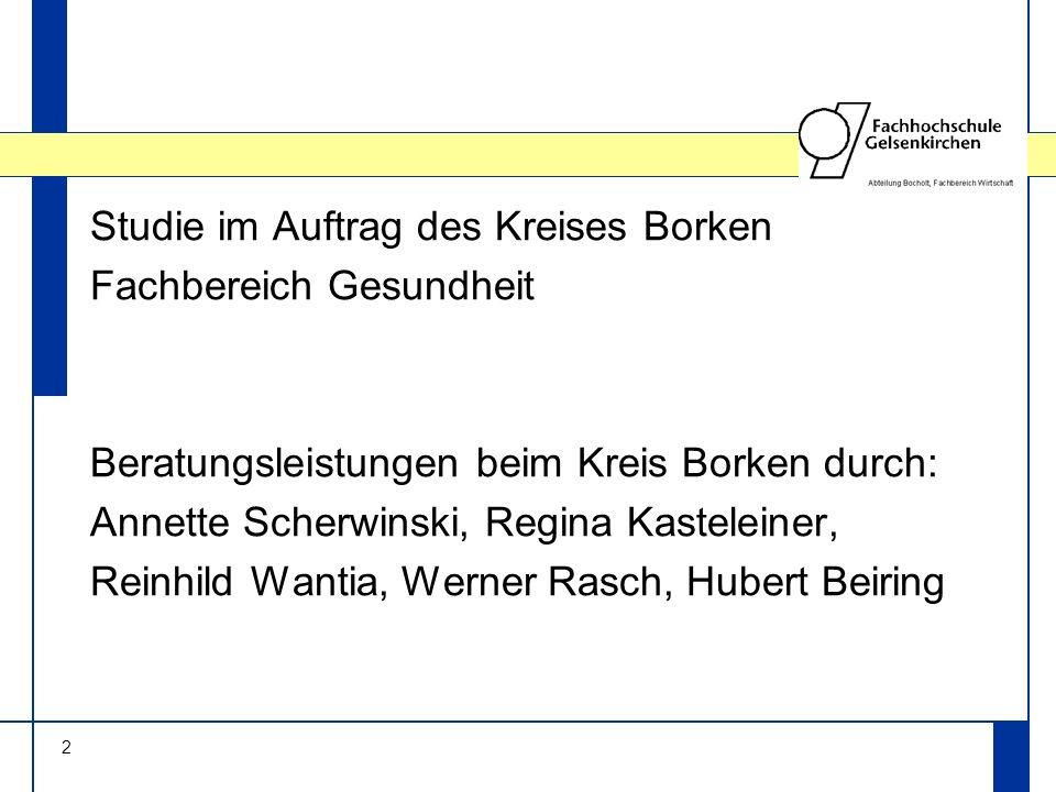 2 Studie im Auftrag des Kreises Borken Fachbereich Gesundheit Beratungsleistungen beim Kreis Borken durch: Annette Scherwinski, Regina Kasteleiner, Reinhild Wantia, Werner Rasch, Hubert Beiring