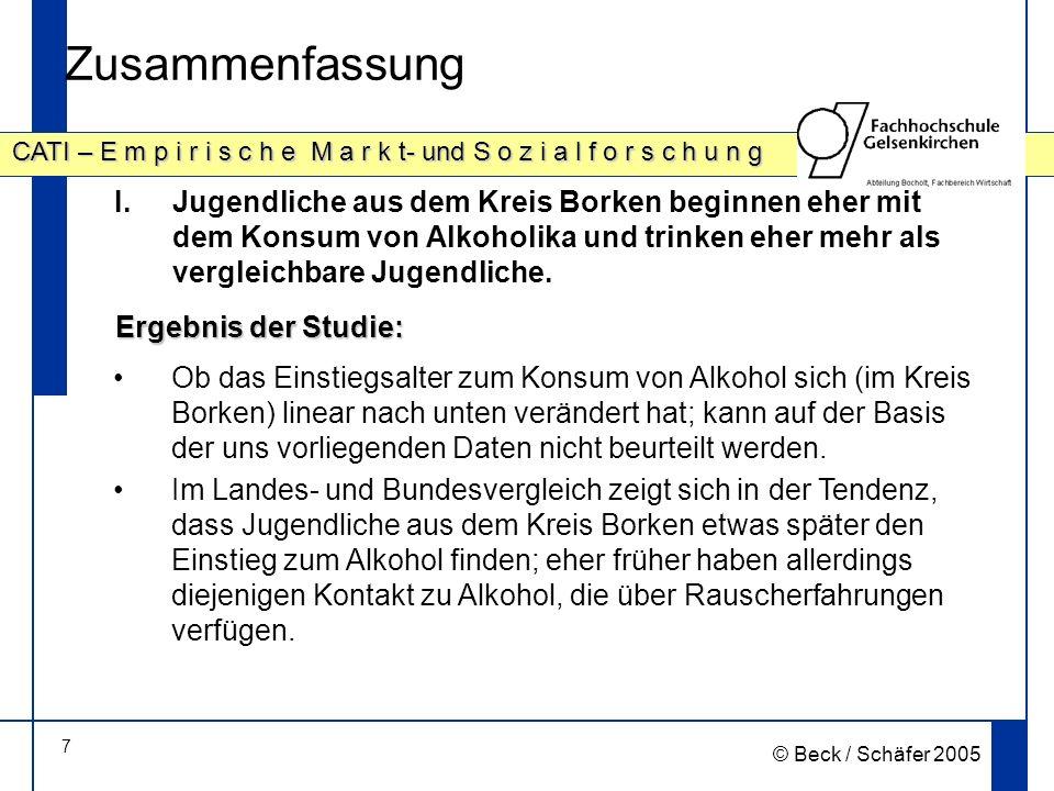18 CATI – E m p i r i s c h e M a r k t- und S o z i a l f o r s c h u n g © Beck / Schäfer 2005 Noch nie Alkohol getrunken haben …, Prozentwerte; Datenbasis: alle Jugendlichen Auffälligkeiten sind farbig unterlegt Signifikanz ( 2 ; Alter: p=.00, Geschlecht: p=.