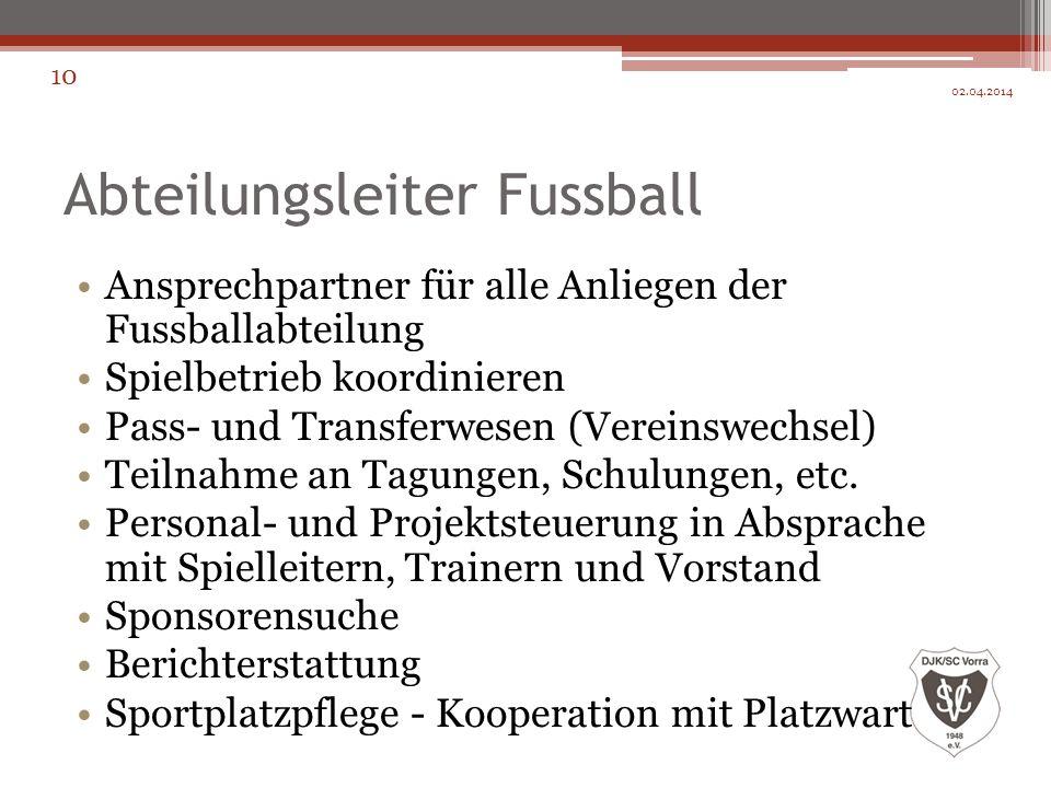 Abteilungsleiter Fussball Ansprechpartner für alle Anliegen der Fussballabteilung Spielbetrieb koordinieren Pass- und Transferwesen (Vereinswechsel) T