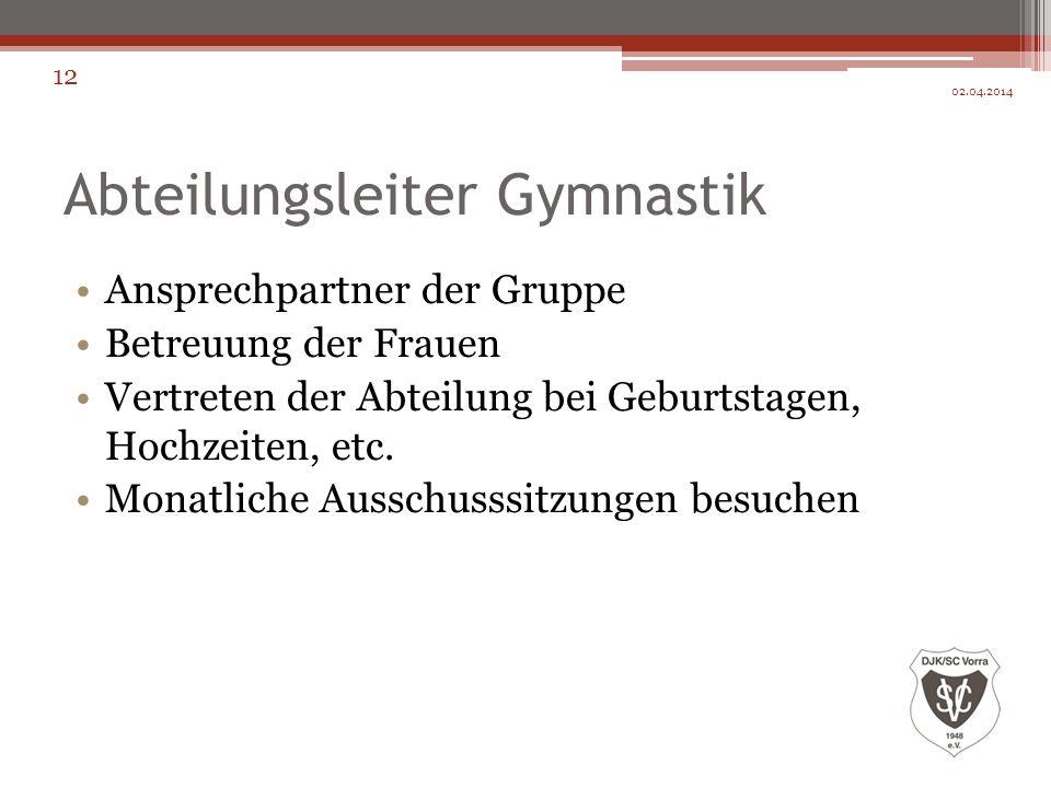 Abteilungsleiter Gymnastik Ansprechpartner der Gruppe Betreuung der Frauen Vertreten der Abteilung bei Geburtstagen, Hochzeiten, etc. Monatliche Aussc