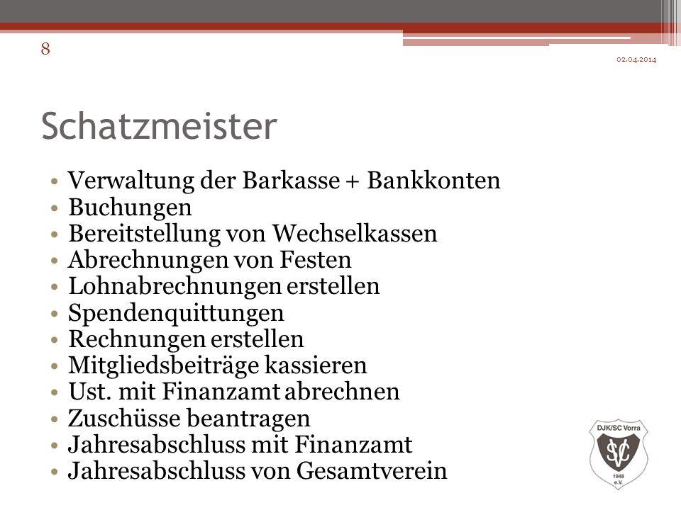 Schatzmeister Verwaltung der Barkasse + Bankkonten Buchungen Bereitstellung von Wechselkassen Abrechnungen von Festen Lohnabrechnungen erstellen Spend