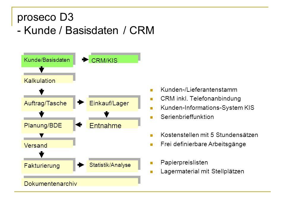 proseco D3 - Kunde / Basisdaten / CRM Kunden-/Lieferantenstamm CRM inkl.