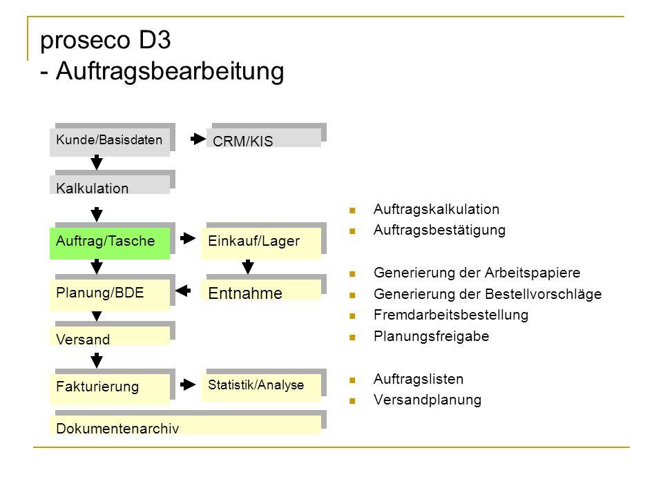 proseco D3 - Auftragsbearbeitung Auftragskalkulation Auftragsbestätigung Generierung der Arbeitspapiere Generierung der Bestellvorschläge Fremdarbeits