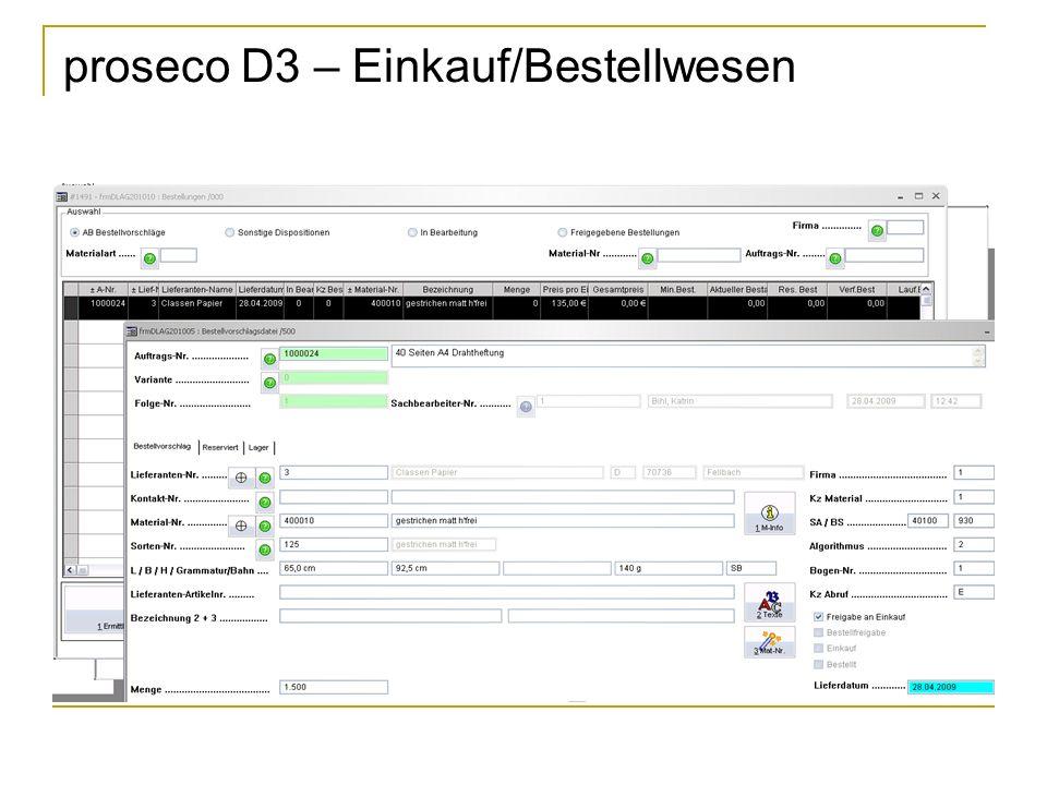 proseco D3 – Einkauf/Bestellwesen