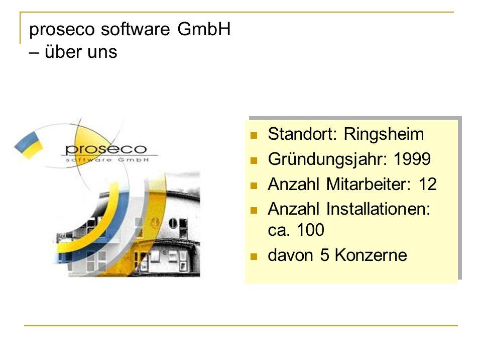 proseco software GmbH – über uns Standort: Ringsheim Gründungsjahr: 1999 Anzahl Mitarbeiter: 12 Anzahl Installationen: ca. 100 davon 5 Konzerne Stando