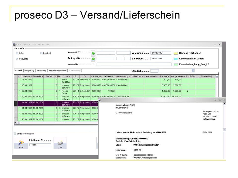 proseco D3 – Versand/Lieferschein