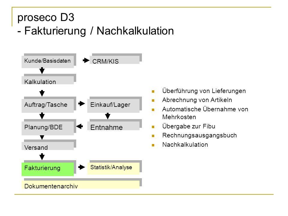 proseco D3 - Fakturierung / Nachkalkulation Überführung von Lieferungen Abrechnung von Artikeln Automatische Übernahme von Mehrkosten Übergabe zur Fib