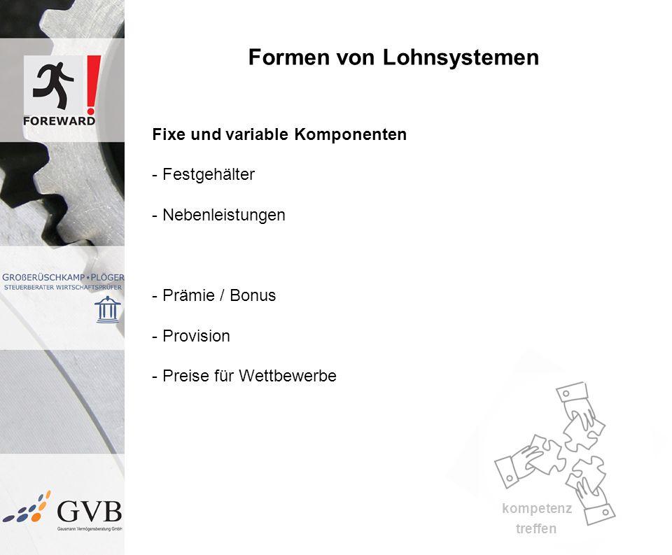 kompetenz treffen Formen von Lohnsystemen Fixe und variable Komponenten - Festgehälter - Nebenleistungen - Prämie / Bonus - Provision - Preise für Wettbewerbe