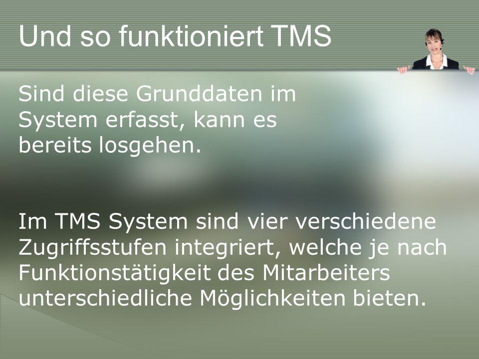 Und so funktioniert TMS Sind diese Grunddaten im System erfasst, kann es bereits losgehen.