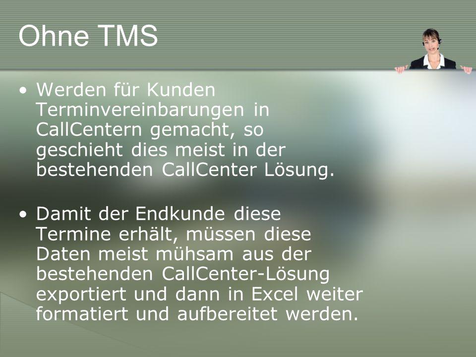 Ohne TMS Werden für Kunden Terminvereinbarungen in CallCentern gemacht, so geschieht dies meist in der bestehenden CallCenter Lösung.