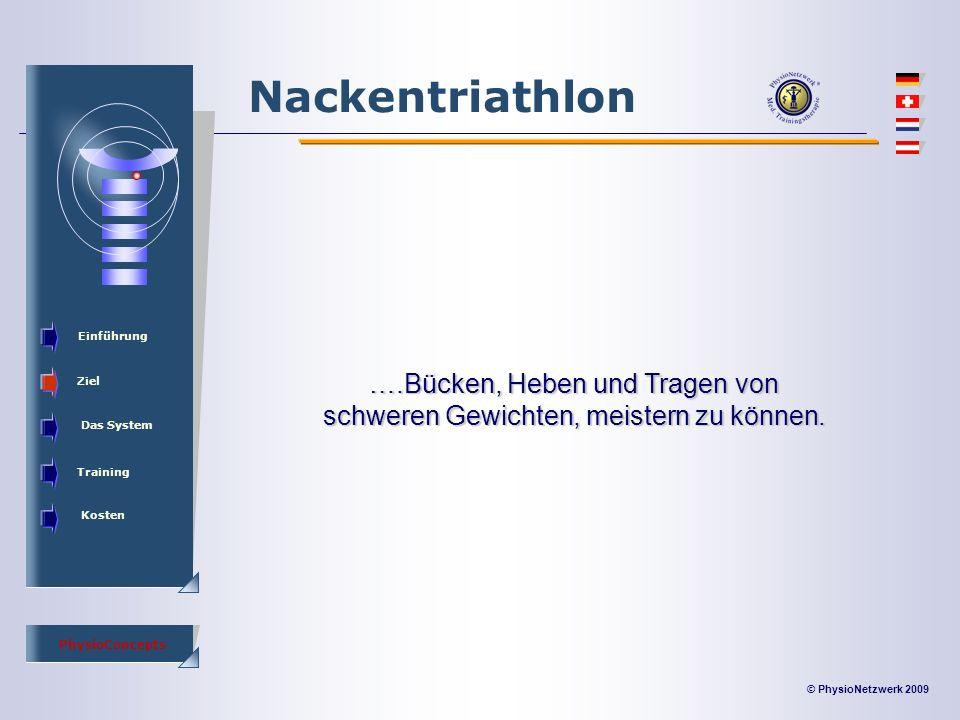 © PhysioNetzwerk 2009 PhysioConcepts Nackentriathlon Einführung Ziel Das System Training Kosten ….Bücken, Heben und Tragen von schweren Gewichten, meistern zu können.