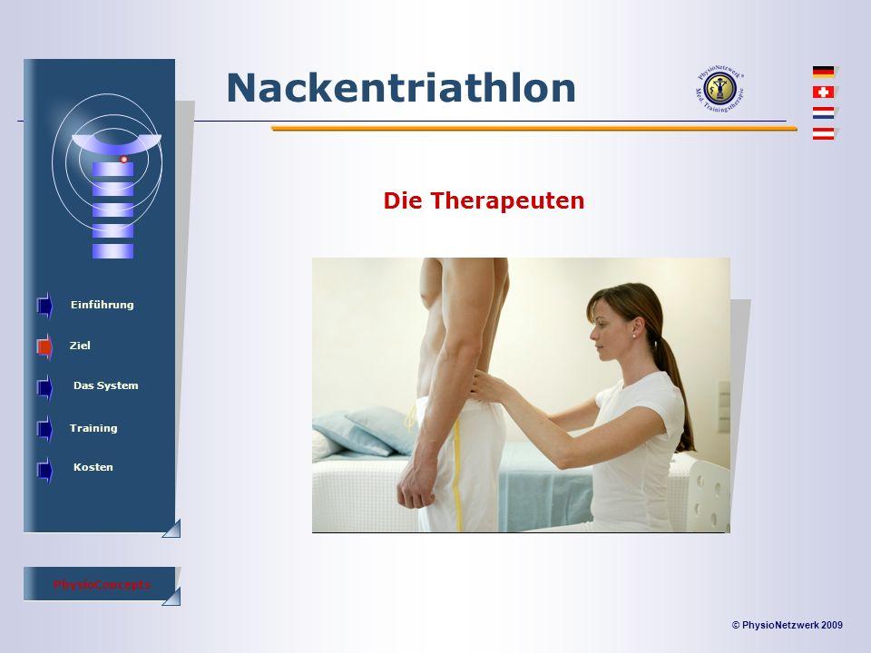 © PhysioNetzwerk 2009 PhysioConcepts Nackentriathlon Einführung Ziel Das System Training Kosten Die Therapeuten