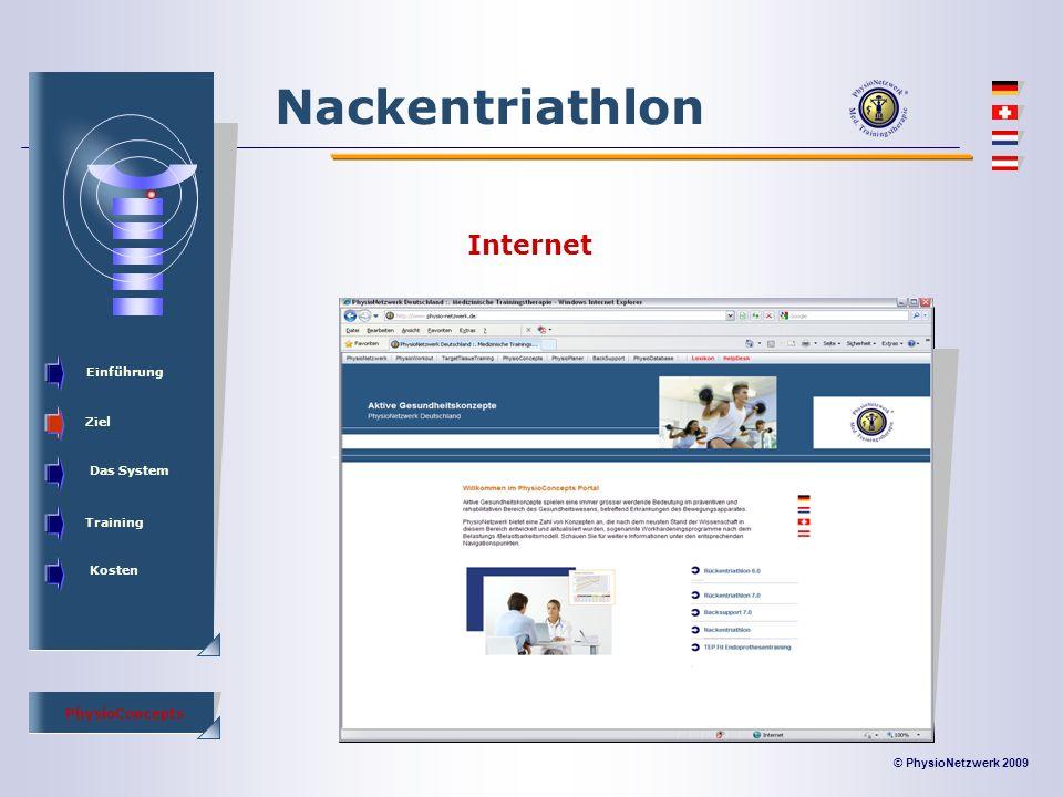 © PhysioNetzwerk 2009 PhysioConcepts Nackentriathlon Einführung Ziel Das System Training Kosten Internet