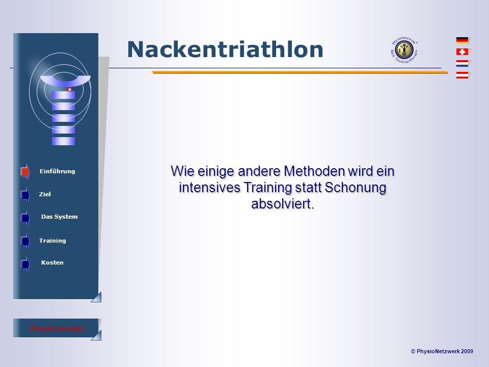 © PhysioNetzwerk 2009 PhysioConcepts Nackentriathlon Einführung Ziel Das System Training Kosten Wie einige andere Methoden wird ein intensives Training statt Schonung absolviert.