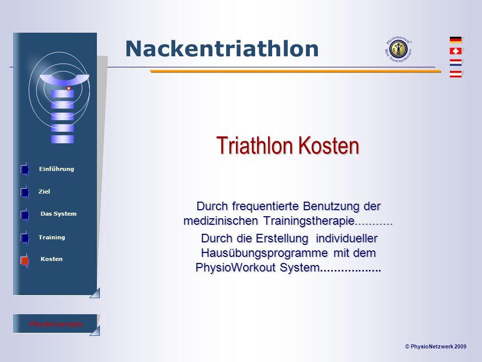© PhysioNetzwerk 2009 PhysioConcepts Nackentriathlon Einführung Ziel Das System Training Kosten Triathlon Kosten Durch frequentierte Benutzung der medizinischen Trainingstherapie...........