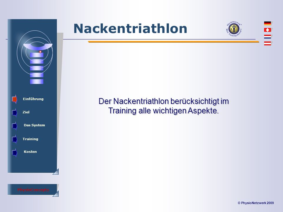 © PhysioNetzwerk 2009 PhysioConcepts Nackentriathlon Einführung Ziel Das System Training Kosten Der Nackentriathlon berücksichtigt im Training alle wichtigen Aspekte.