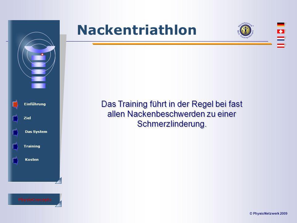 © PhysioNetzwerk 2009 PhysioConcepts Nackentriathlon Einführung Ziel Das System Training Kosten Das Training führt in der Regel bei fast allen Nackenbeschwerden zu einer Schmerzlinderung.