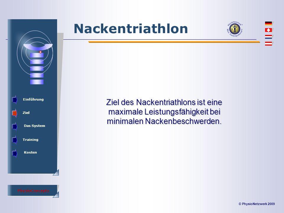 © PhysioNetzwerk 2009 PhysioConcepts Nackentriathlon Einführung Ziel Das System Training Kosten Ziel des Nackentriathlons ist eine maximale Leistungsfähigkeit bei minimalen Nackenbeschwerden.