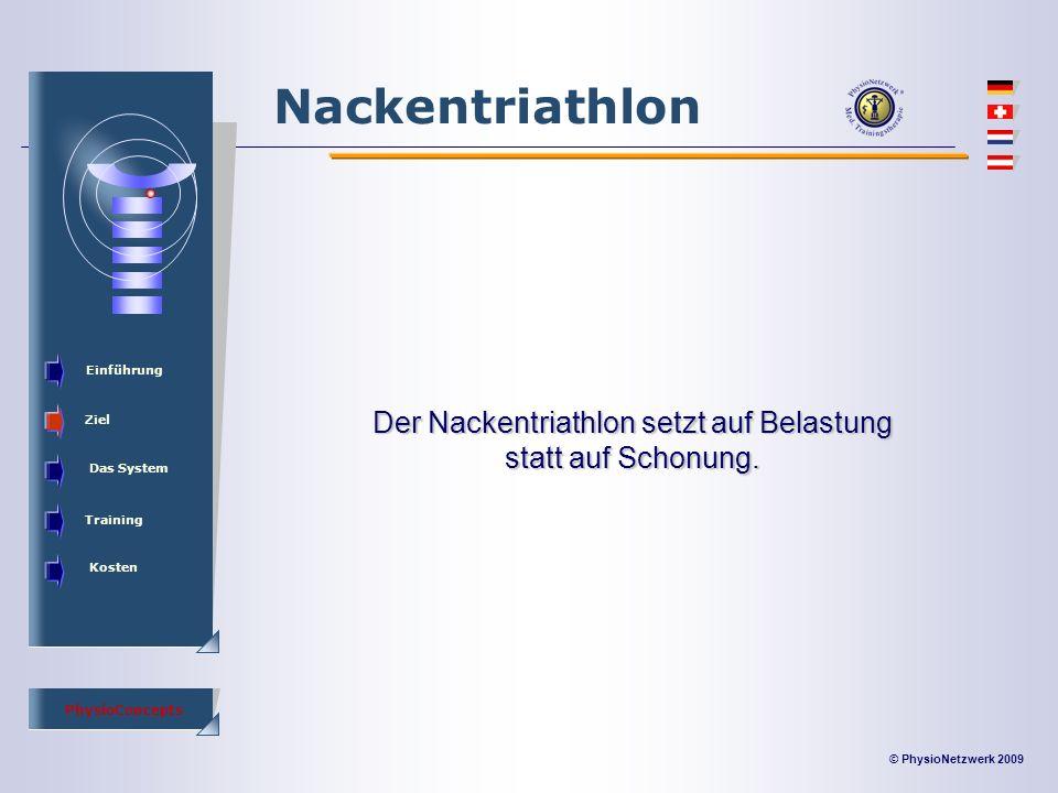 © PhysioNetzwerk 2009 PhysioConcepts Nackentriathlon Einführung Ziel Das System Training Kosten Der Nackentriathlon setzt auf Belastung statt auf Schonung.