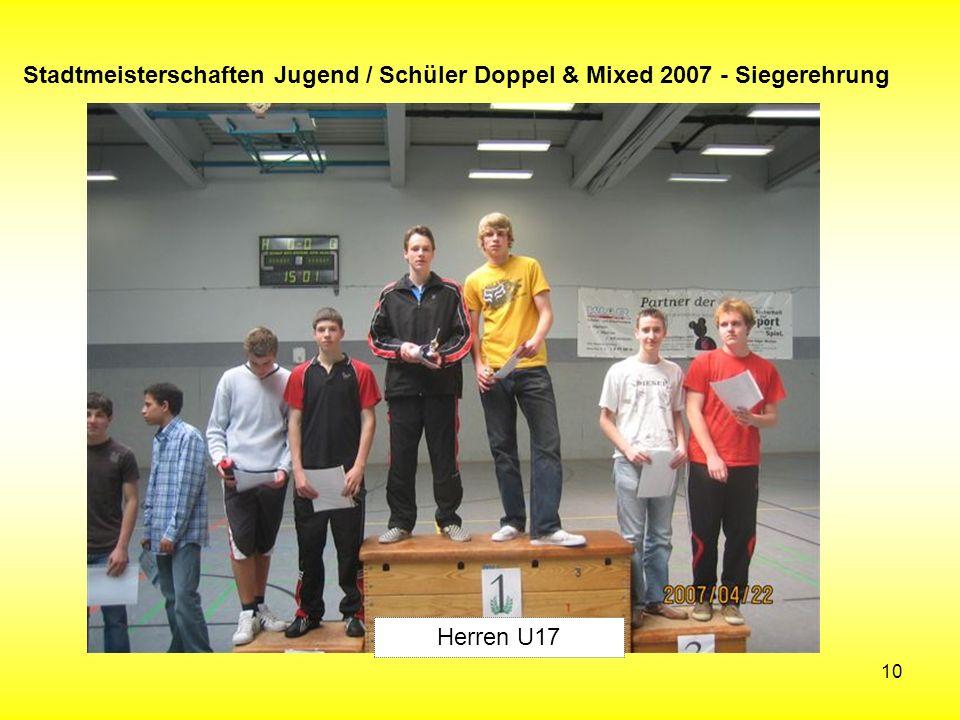 10 Stadtmeisterschaften Jugend / Schüler Doppel & Mixed 2007 - Siegerehrung Herren U17